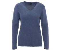 Pullover, Strickmuster, V-Ausschnitt, Blau