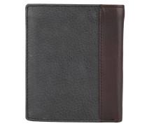 Brieftasche, genarbtes Leder, zweifarbig, Schwarz