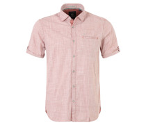 Freizeithemd, kurzarm, Punkte-Muster, Rot