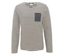 Sweatshirt, maritim, Streifen, Brusttasche, Jeans-Optik