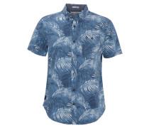 Freizeithemd, Kurzarm, Palmen-Print, Button-Down-Kragen, Blau