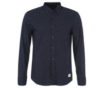 Hemd, Print, Regular Fit, Button-Down-Kragen, Blau