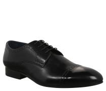 Business-Schuhe, Lochmuster, Leder, Schwarz