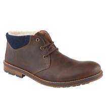 Boots, Leder-Optik, Plüsch-Innenmaterial, Braun