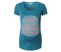 """Umstandsshirt """"Mirra"""", Streifen-Design, Front-Print, Blau"""
