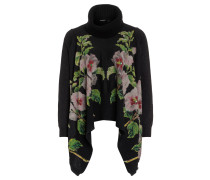 """Pullover """"Anna"""", Blumen-Print, Volants, Schwarz"""