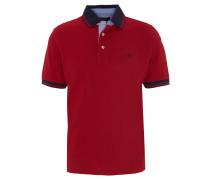 Poloshirt, Logo-Stickerei, einfarbig, Rot