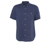 Freizeithemd, Leinen, Brusttasche, Button-Down-Kragen, Blau