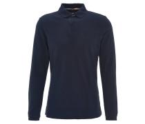 Poloshirt, langarm, Logo-Stickerei, Blau