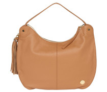 "Handtasche ""Chana"", Hobo-Stil, Leder, Anhänger, Braun"
