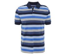 Poloshirt, Streifen, Logo-Stickerei, Blau