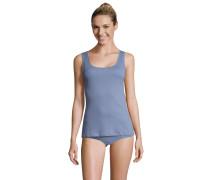 Unterhemd, Supima-Baumwolle, Feinripp, breite Träger, Blau