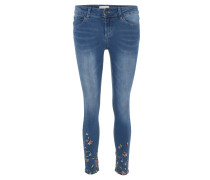 Jeans, Slim Fit, florale Stickerei, Waschung
