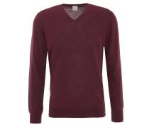 Pullover, uni, V-Ausschnitt, Ripp-Bund, Rot