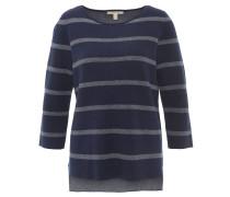 Pullover, seitliche Schlitze, 3/4-Arm, Rundhalsausschnitt, Blau