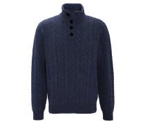 Pullover, Wollanteil, Strick-Optik, Knopfleiste, Rippbündchen, Blau