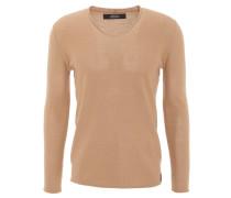 Pullover, V-Ausschnitt, Woll-Anteil, Rollsaum, Beige