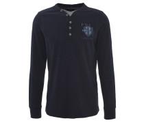 Longsleeve, Henley-Kragen, Logo-Stickerei, Blau