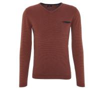 Pullover, V-Ausschnitt, Streifen, Baumwolle, kleine Brusttasche, Orange