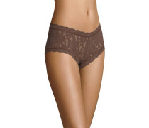 Panty, transparent, Spitzen-Design, Braun