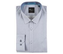 Businesshemd, Baumwolle, Allover-Print, bügelleicht, Blau