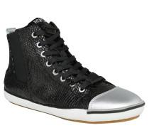 High-Top-Sneaker, Logo-Stitching, umgeklappte Zunge, Schwarz