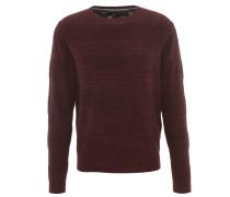Pullover, Baumwoll-Mix, Strick, meliert, Rot