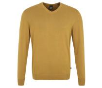 Strickpullover, V-Ausschnitt, reine Baumwolle, Gelb