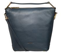 "Handtasche ""Yao Liya"", Kalbsleder, trapezförmig, Blau"