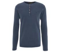 Langarmshirt, Baumwolle, Henley-Ausschnitt, uni, Blau