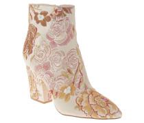 Ankle Boots, florale Stickerei, spitz, Beige