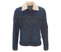 Jeansjacke, Webpelz-Kragen, Brusttaschen, Blau