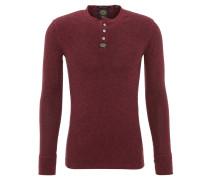 Langarmshirt, meliert, Henley-Kragen, Rot