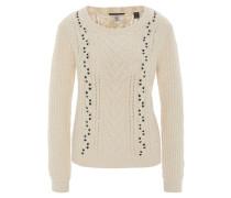 Pullover, Strick, Zopfmuster, Weiß