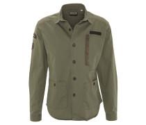 Freizeithemd, Army-Stil, Aufnäher, Reißverschlusstasche, Oliv