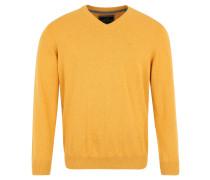 Pullover, Feinstrick, Baumwolle, V-Ausschnitt, Gelb