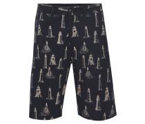 Bermuda-Shorts, Leuchtturm-Muster, 5-Pocket-Stil, Baumwolle, Blau