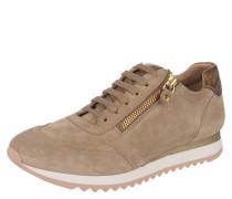 Sneaker, Metallic-Details, Reißverschluss, Beige