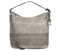Handtasche, großformatig, Cut-Out-Muster, Umhängeriemen, Grau
