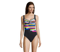 Badeanzug, Streifen-Design, Raffung, Schale