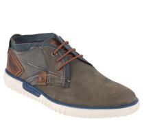 Boots, Leder, Materialmix, Grau