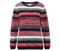 Pullover, Feinstrick, gestreift, reine Baumwolle, Rot