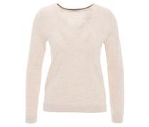 Pullover, seitliche Schlitze, V-Ausschnitt, Beige