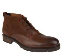 Boots, geschnürt, Leder, Struktur-Mix