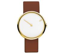 """Armbanduhr """"Curve 254"""", vergoldet, Leder, Edelstahl"""