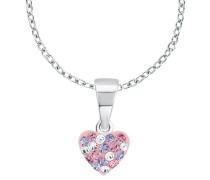 Kette mit Herz aus Kristallen in lila & rosa Silber 925