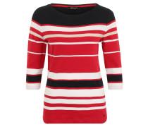 Shirt, 3/4-Arm, Rundhals, Streifenmuster, Baumwolle, Rot