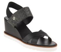 Sandaletten, Keilabsatz, Animal-Print, elastischer Einsatz, Schwarz