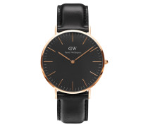 Classic Black Armbanduhr Sheffield, Rose Gold 40 mm DW00100127