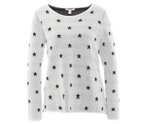 Pullover, Allover-Muster, seitlicher Reißverschluss, Weiß
